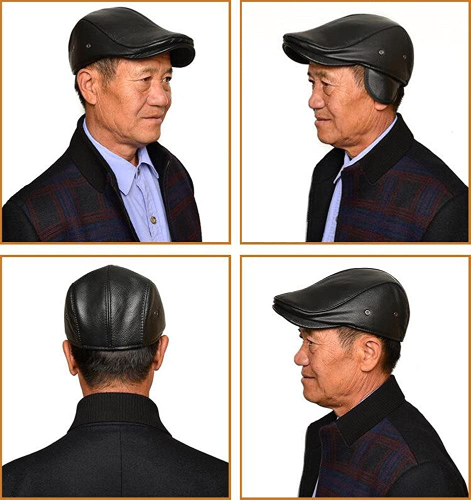 d9fe21e796667 Roffatide Men Leather Newsboy Cap with Earflap Cabby Ivy Golf Beret Driving  Hunting Flat Hat Winter 58cm Black at Amazon Men s Clothing store