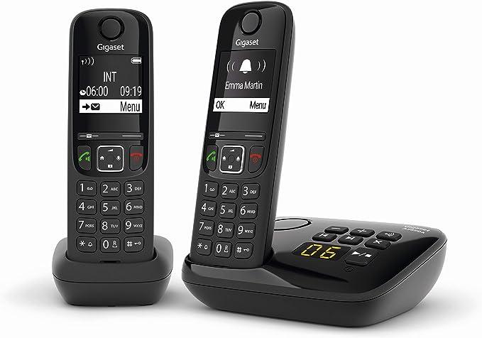 Gigaset AS690A Duo Teléfono inalámbrico, 2 portátiles + Secretero, Manos Libres, Teclado Iluminado y Amplia Pantalla, Lista de Llamadas facturas, ...