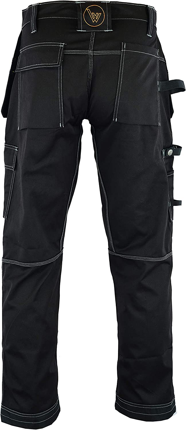 Like Dewalt Wright Wears Men Work Cargo Trouser Black Heavy Duty Multi Pockets /& Knee Pad Pockets
