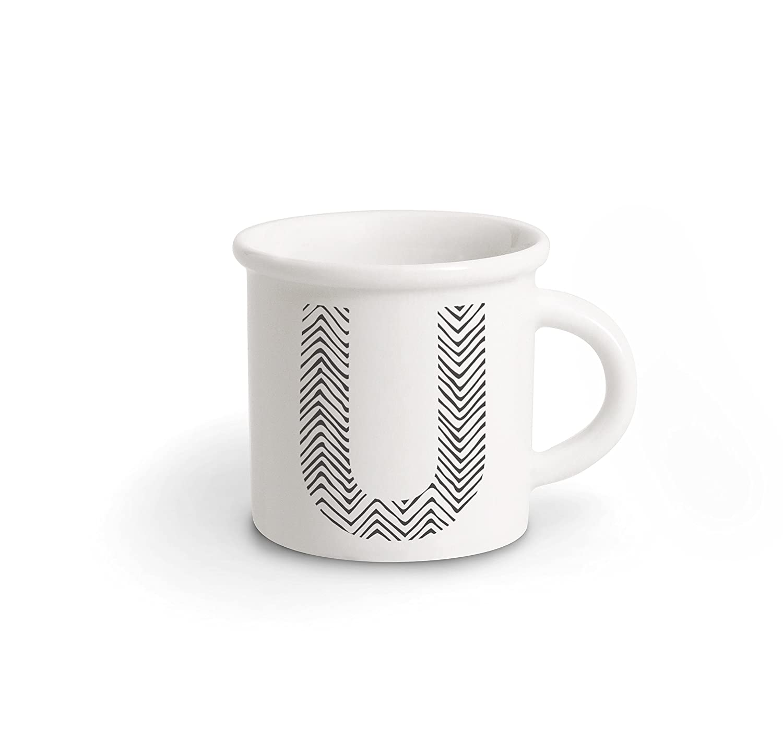 Ilaria.I ABC.Taza.BK.U Mug con Letra, Porcelana, Negro, 12x 10x 10cm