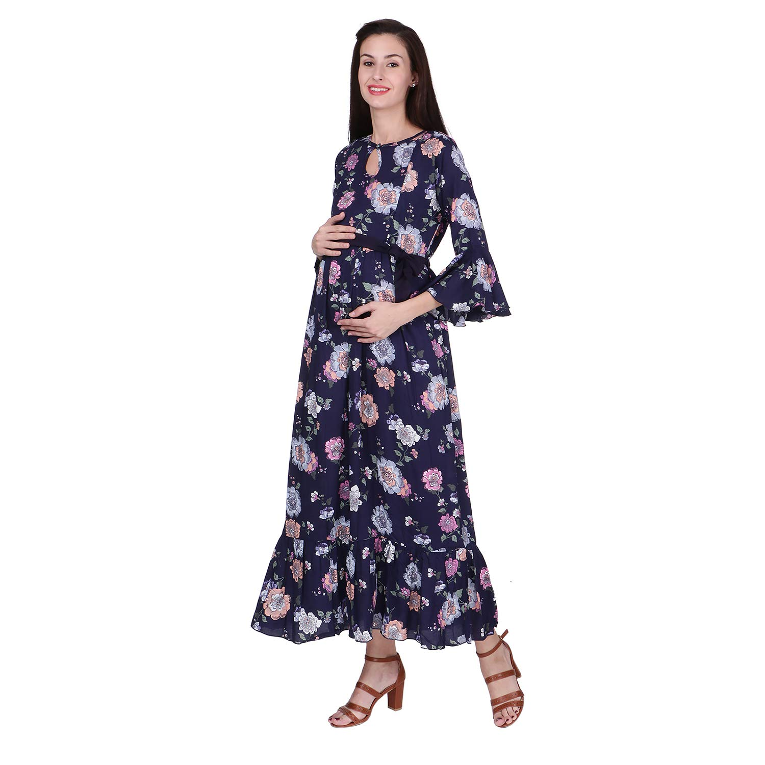 c6c14559f7be5 VIXENWRAP Dark Black Rayon Floral Print Maternity Gown: Amazon.in: Clothing  & Accessories