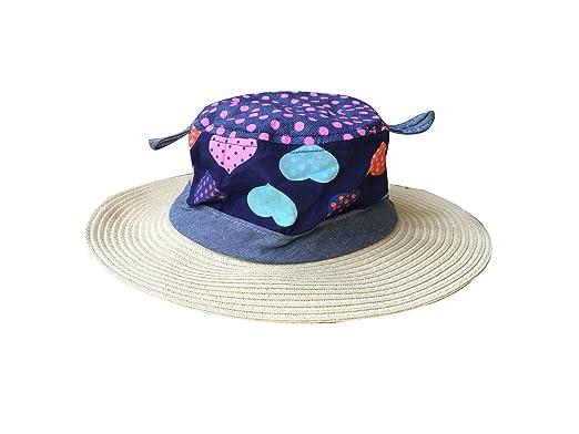 74fccf2509a421 ACVIP Kids Girl' Heart Printed Patchwork Summer Bucket Hat Cowboy Cap  (Beige)