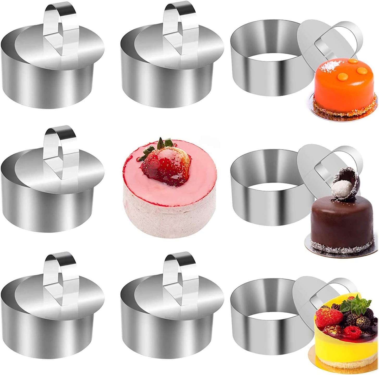 Cake Rings – 16 PCS Round Stainless Steel Mousse Molds for Cooking 8 Pastry Rings 8 Pushers Baking Tools for Kitchen