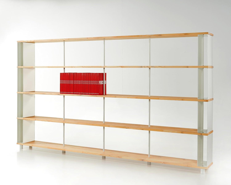 Bücherregal SKAFFAWOOD MASSIVHOLZ kombinierbare Regal Wand Design Einlegeböden Made in ITALY cm. H 171 X 300