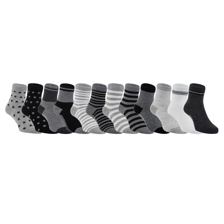 Lovely Annie Unisex Children 6 Pairs Pack Non-Skid Cotton Socks One Size