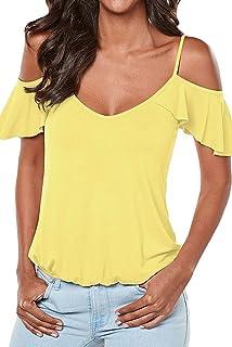 ed448b6e75ba Damen Oberteile Mode Rückenfrei Bandage Bluse T-Shirt Hemden Sexy V  Ausschnitt Schlinge Kurzarmshirts Tops