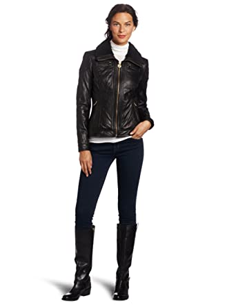 d20f955e950b MICHAEL Michael Kors Women's Leather Zip-Front Jacket at Amazon Women's  Coats Shop