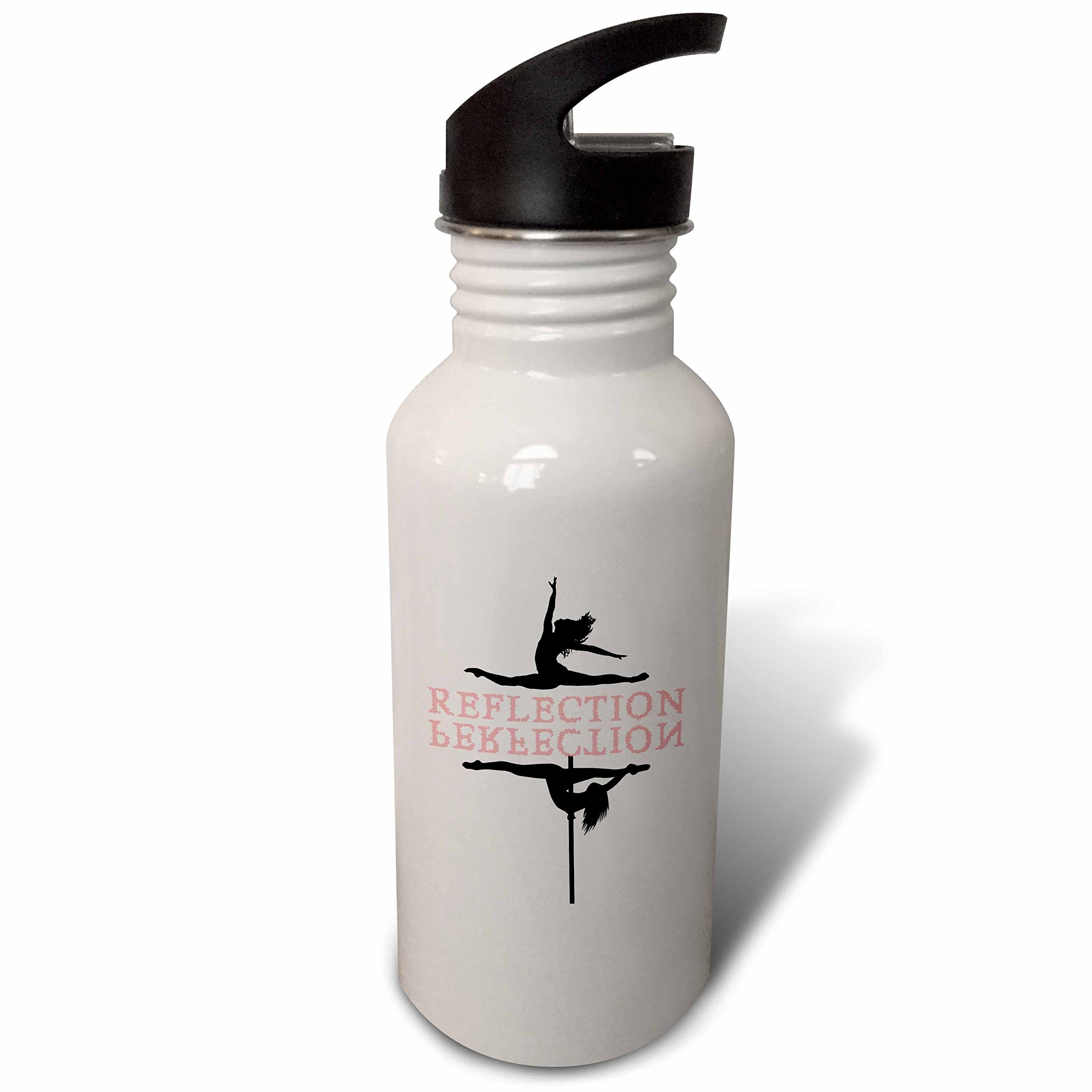 3dRose Alexis Design - Dance - Ballet and pole dancers on white. The text Reflection, Perfection - Flip Straw 21oz Water Bottle (wb_273749_2)