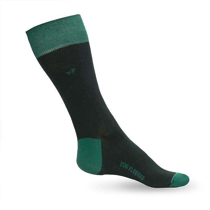 Calcetines ejecutivos para hombre - Business Calcetines con acabados hechos a mano - verde, verde oscuro 100% algodón egipcio by VON FLOERKE: Amazon.es: ...