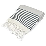 """DII Peshtemal Turkish Super Soft, Absorbent, Oversized Bath Towel, Throw, & Blanket Fringe For Chair, Couch, Picnic, Camping, Beach, Yoga, Pilates, & Everyday Use , 39 x 71"""" - Navy Stitched Stripe"""