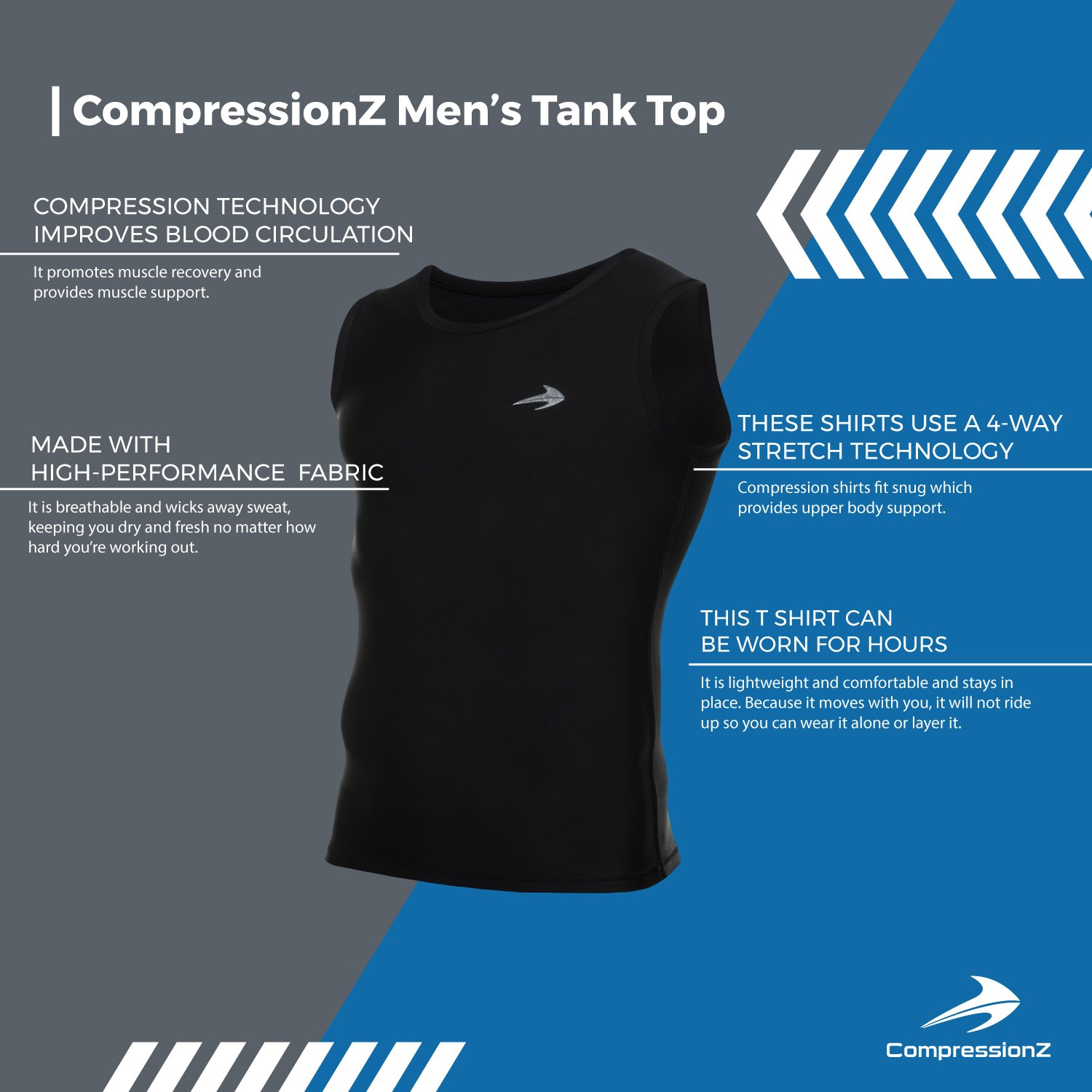 52e27ff906bdc Amazon.com  Compression Tank Top (Black - XL) Men s Muscle Running Base  Layer Sleeveless Sports Tee  Sports   Outdoors