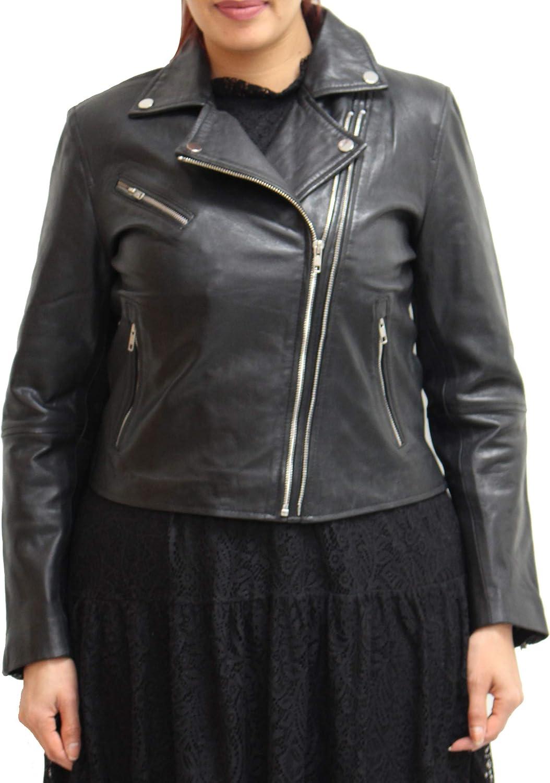 Veste de Motard d'été en Cuir véritable à Double Fermeture éclair pour Femme avec Coutures élégantes sur Le Panneau arrière Noir
