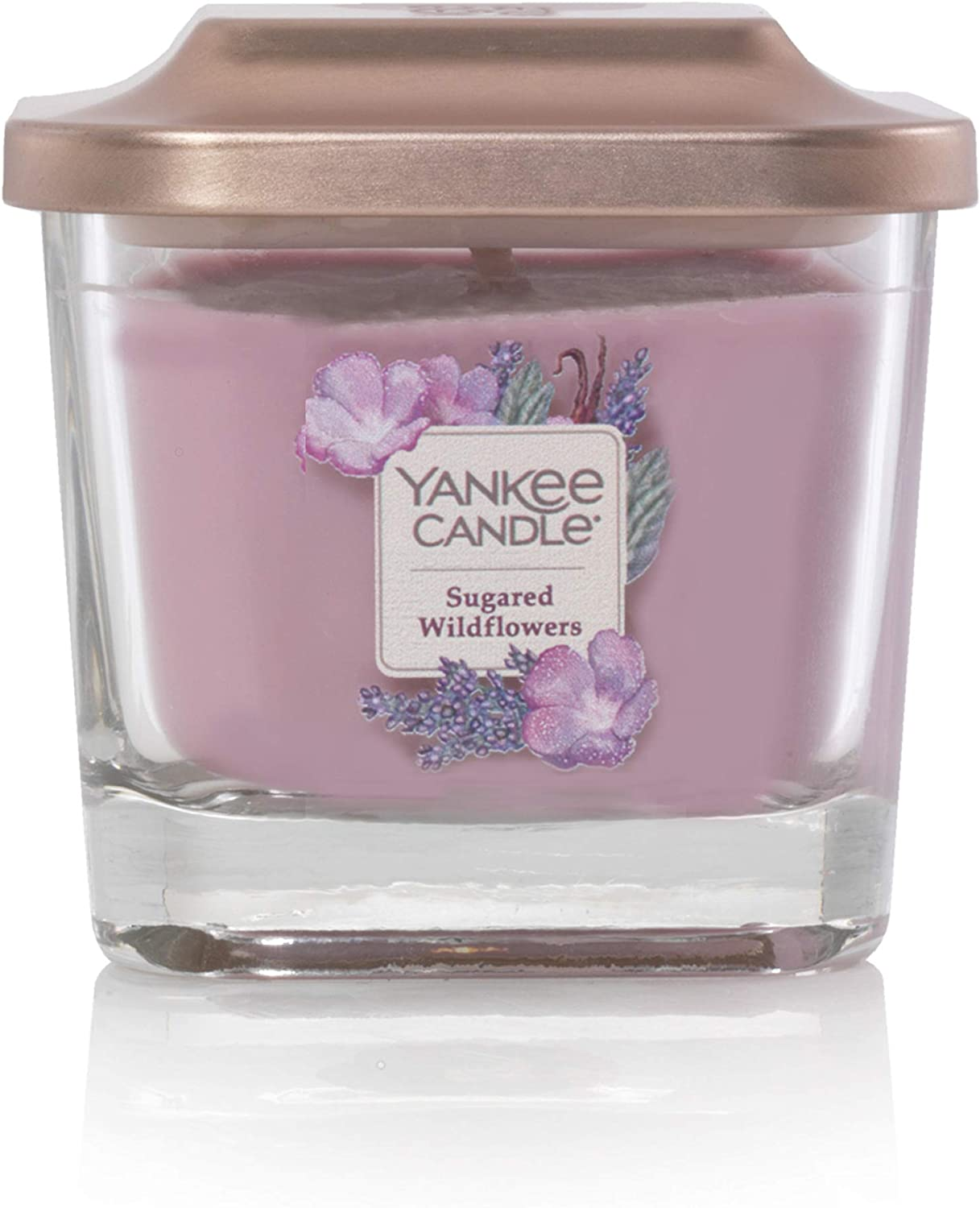 Yankee Candle Elevation Collection with Platform Lid Sugared Wildflower Scented Candle, Small 1-Wick, 28 Hour Burn Time