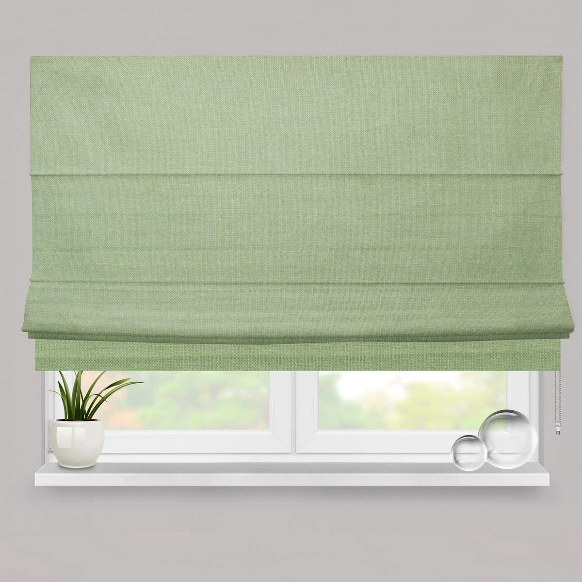 2ft Deluxe Cassette and Alteration upgrade available Barnes Textiles Green Weave Fully Lined Roman Blind 61cm