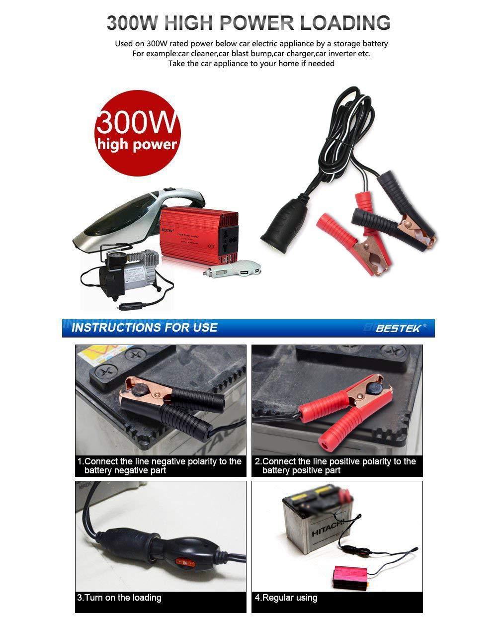 Bestek 12v 24v Battery Clip On Cigarette Lighter Socket Extension Example Highpower Inverter Installation Diagram Cord Mrs301a Car Motorbike