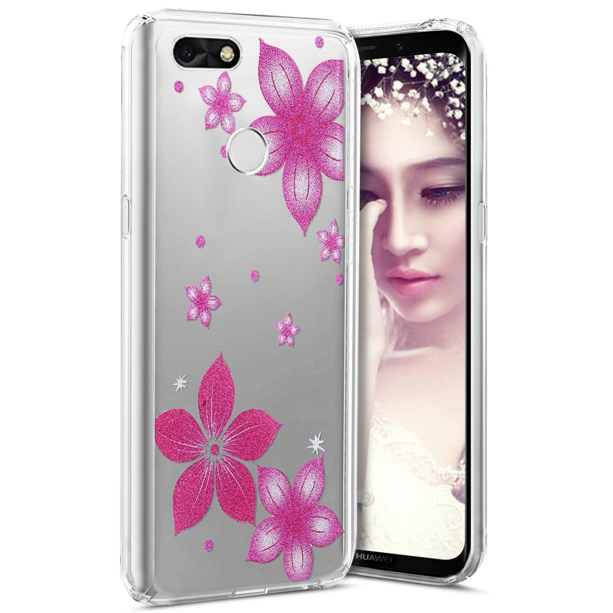 Huawei P9 Lite Mini Case, Huawei P9 Lite Mini Case Glitter, TPU Silicone Case for Huawei P9 Lite Mini Transparent Clear [Ultra Thin] Clear Soft TPU Case with Colorful Flowers Campanula Butterfly W W Surakey SUR06651