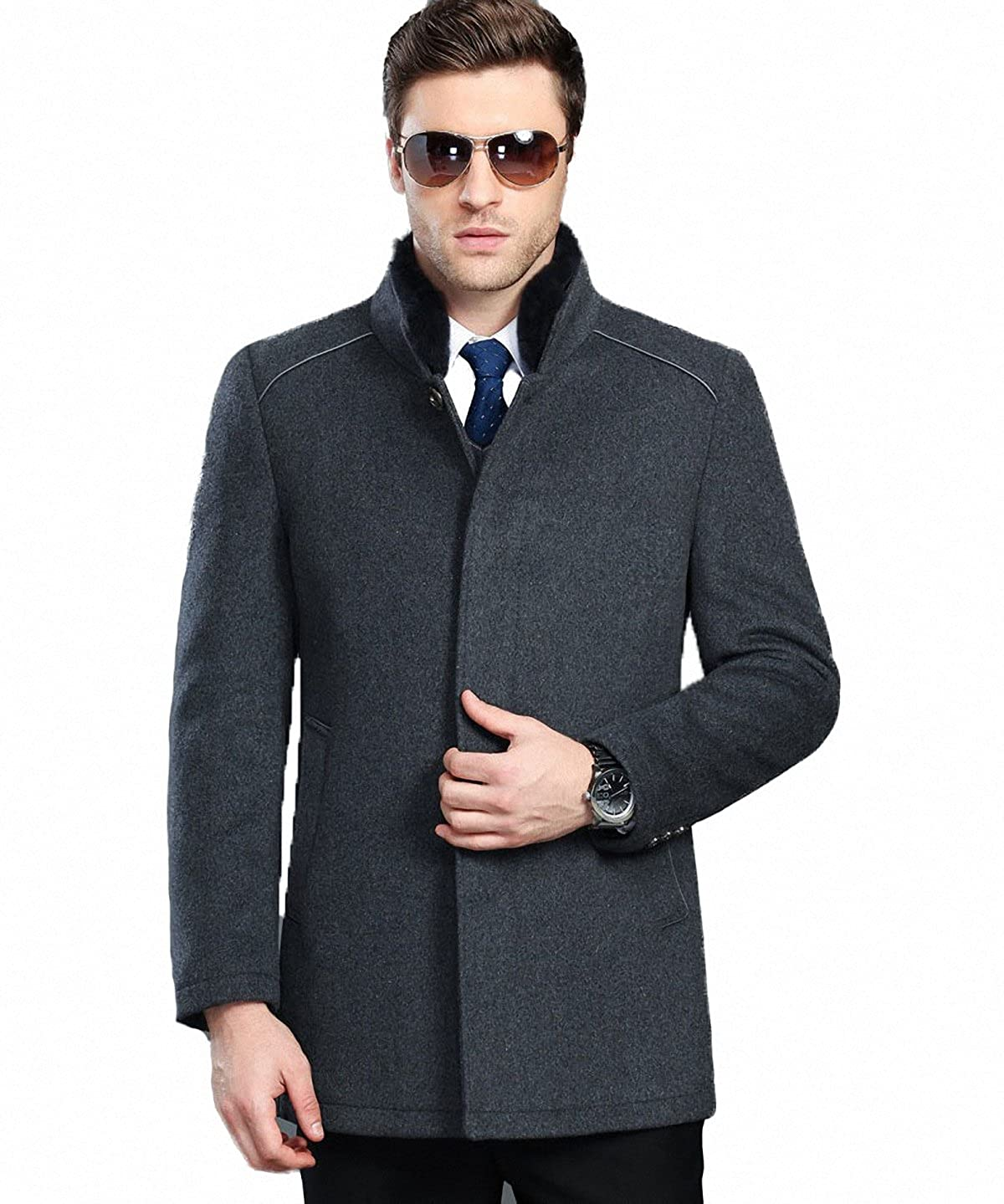 FASHINTY Men's Casual Style Single Breasted Stand Collar Wool Coat #178 FMDYC00178-P