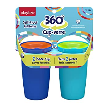 Amazon Com Playtex Sipsters Stage 2 360 Degree Spill Proof Leak Proof Break Proof Spoutless Cup For Boys 10 Oz 2count Baby