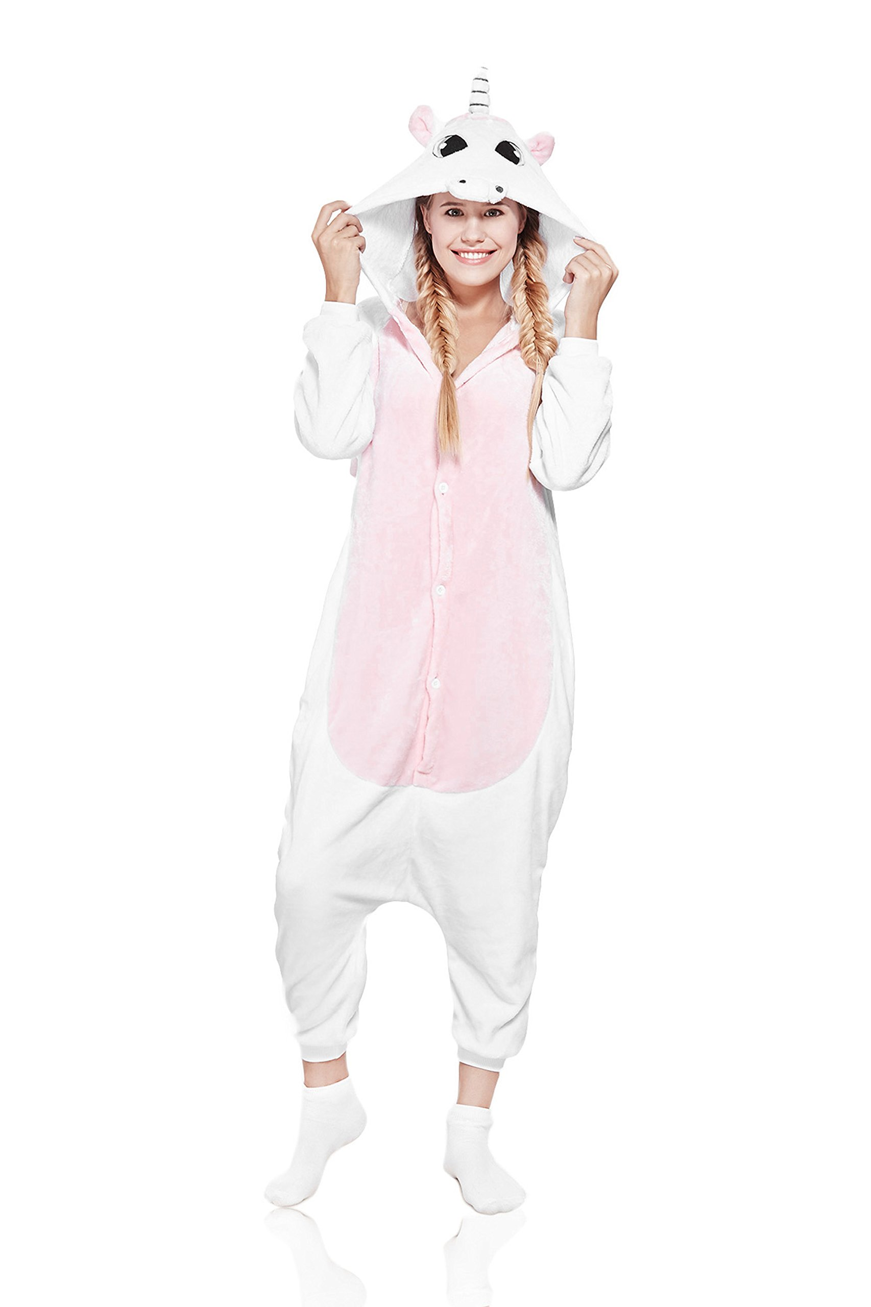 Nothing But Love Adult Pink Unicorn Onesie Pajamas Kigurumi Animal Cosplay Costume Onsie Fleece Pjs (Small, White, Pink)