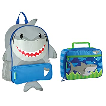 6270d96303cd Stephen Joseph Boys Sidekick Shark Backpack and Lunch Box for Kids