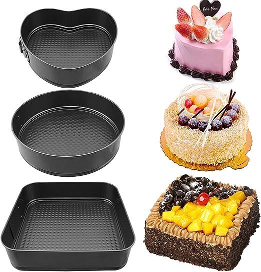 SET OF 5 SQUARE NON STICK SPRING FORM ROUND CAKE BAKING BAKE TIN TRAY BAKEWARE