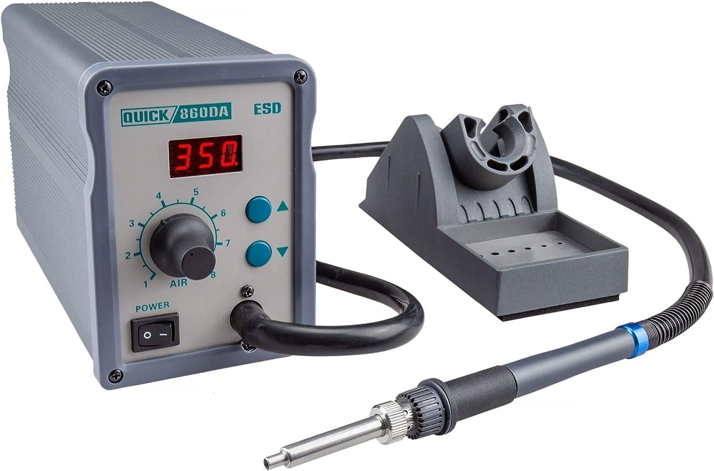 Auto-K/ühlsystem QUICK QU861DW Profi Hei/ßluft L/ötstation Set digital regelbar 1000 Watt Temperaturbereich 100-500 /°C SMD Reworkstation Kalibrierfunktion Standby