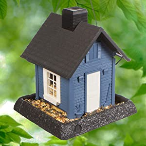 North States Village Collection Blue Cottage Birdfeeder