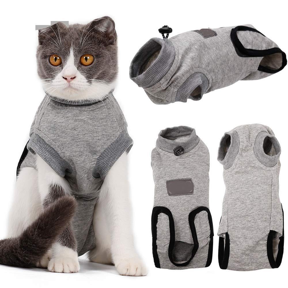 Medical Cat Recovery Suit Clothes Pet Anti-bite E Collar Alternative Cotton Cat Shirt After Surgery Wounds,S