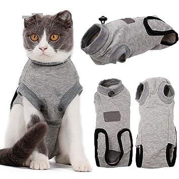 HLMF Traje médico de recuperación del Gato Ropa Mascota Collar Anti-mordida E Algodón Alternativo Camisa de Gato Después de heridas por cirugía,XS: ...