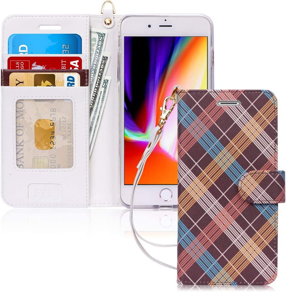 """FYY Case for iPhone 8 Plus/iPhone 7 Plus,[Kickstand Feature] Luxury PU Leather Wallet Case Flip Folio Cover with [Card Slots] [Wrist Strap] for Apple iPhone 8 Plus 2017/7 Plus 2016 (5.5"""") Classic"""