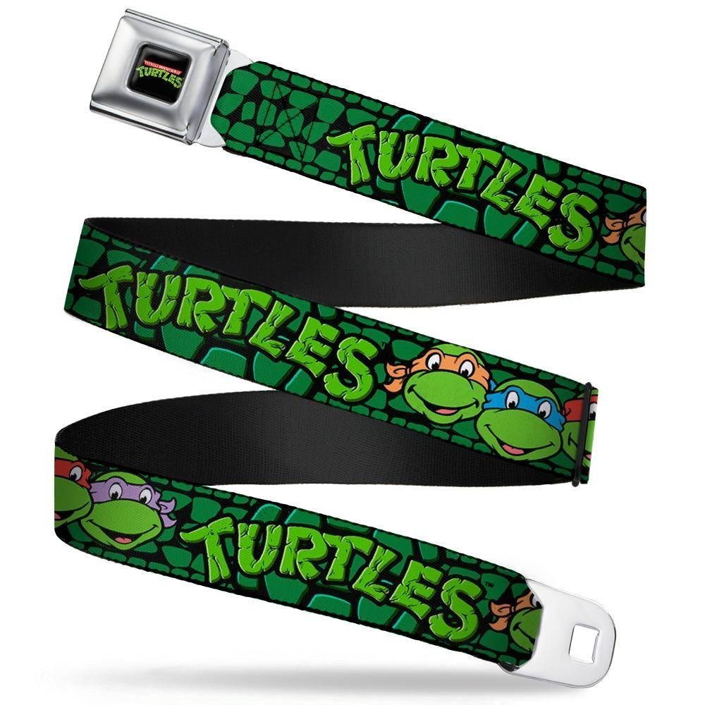 """Buckle-Down Seatbelt Belt - Classic TMNT Group Faces/TURTLES Turtle Shell Black/Green - 1.5"""" Wide - 24-38 Inches in Length"""