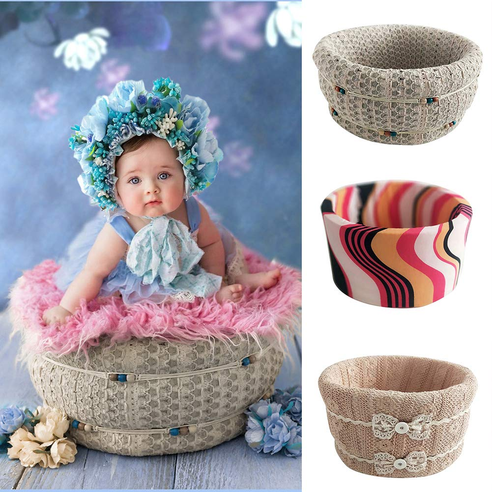 Newborn Photography Basket Foam Lightweight Cotton Small Frame Baby Photography Basket Newborn Photo Props for Newborn Styling Props Accessories