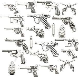BULK Charms Gun Charms Pistol Charms 50 pieces Antiqued Silver Wholesale Charms
