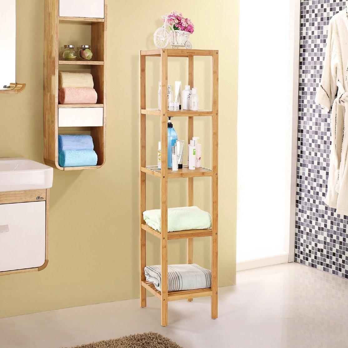 SONGMICS Narrow Shelving Unit Bathroom Shelf 5-Tier Multifunctional Storage 100% Bamboo Wood Corner Rack for Kitchen Livingroom Bedroom UBCB55Y by SONGMICS (Image #2)