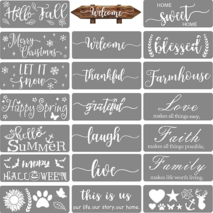 20 PCS Welcome Stencil for Painting on Wood,Home Sign Stencils Reusable Porch Sign and Front Door Vertical Welcome Comes with Stencil-Sunflower,Dog Paw Stencil and orther Pattern…
