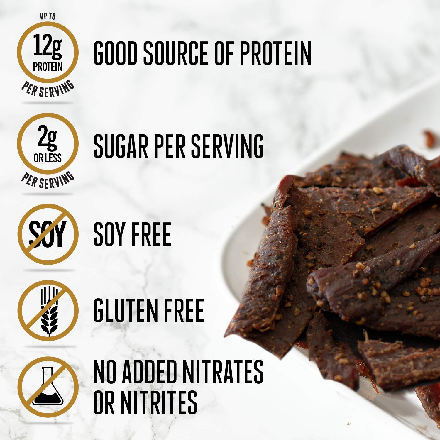 Perky Jerky Sea Salt and Pepper Wagyu Beef Jerky, 2.2 oz (Pack of 8) High-Protein Snack-12g of Protein-Keto, Paleo, Soy & Gluten-Free, No Added Sodium Nitrites/Nitrates-Tender and Flavorful Beef Jerky by Perky Jerky (Image #8)