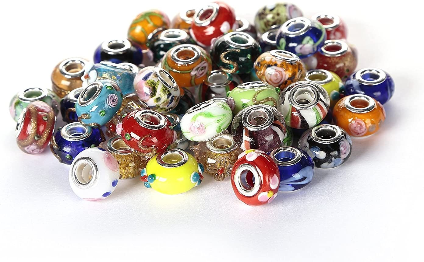Crystal Paved Mix large hole spacer Beads lot Beads only Z6 NEW 7pc Lampwork Parrot Rainbow European Style GLASS Murano Charms
