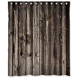 "Welcome!Waterproof Decorative Rustic Old Barn Wood Art Shower Curtain 60""x72""-6"