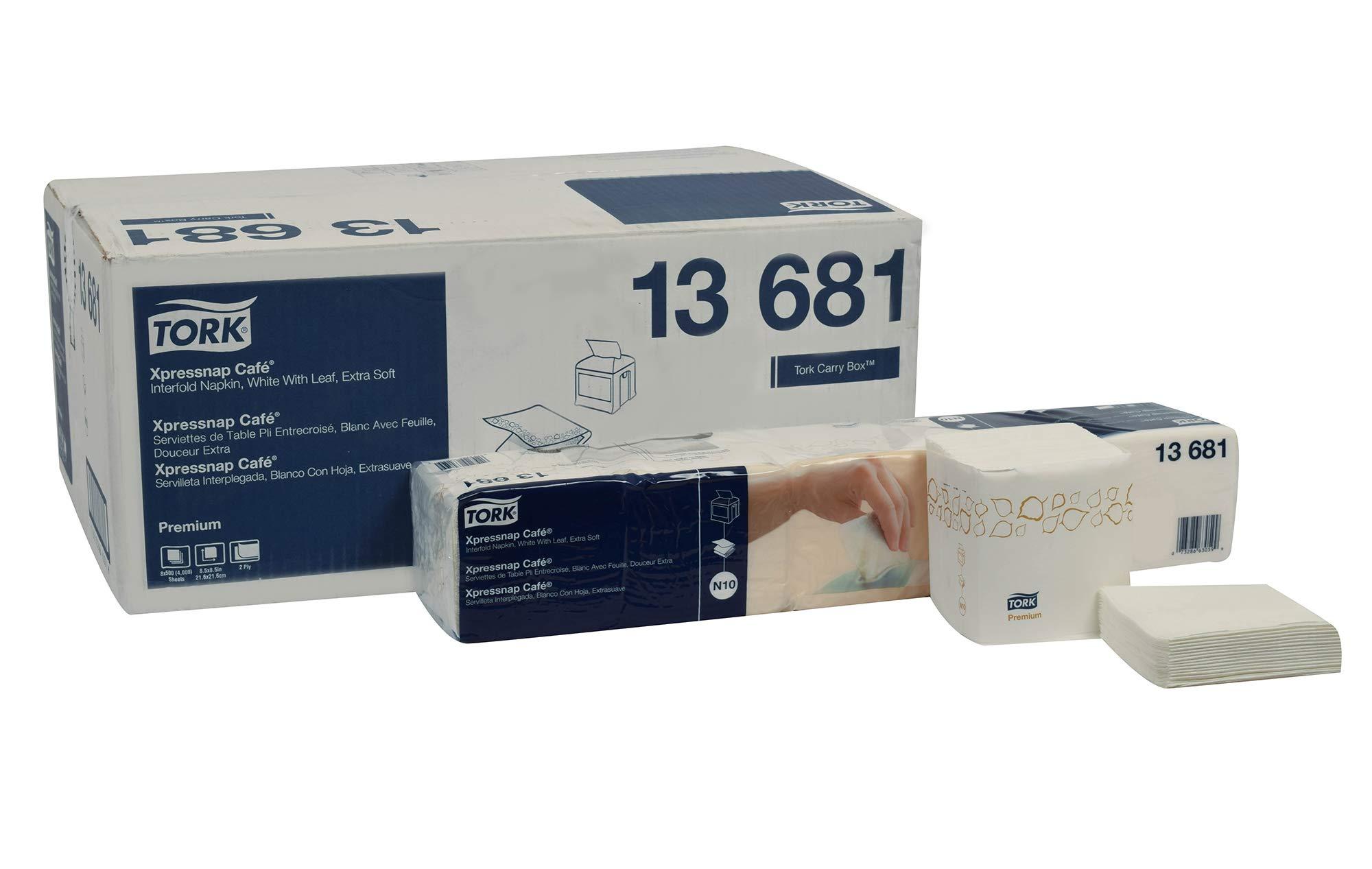 Tork 13681 Premium Extra Soft Xpressnap Café Dispenser Napkin, Interfold, 2-Ply, 8.5'' Length x 8.5'' Width, White, (Case of 8 Poly Packs, 500 per Pack, 4,000 Napkins)