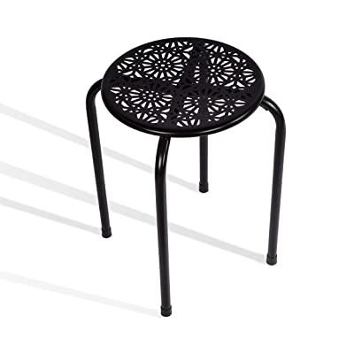 dar Living Daisy Metal Stool, Black (2-Pack): Kitchen & Dining