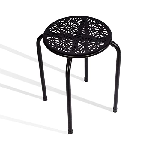 dar Living Daisy Metal Stool, Black 2-Pack