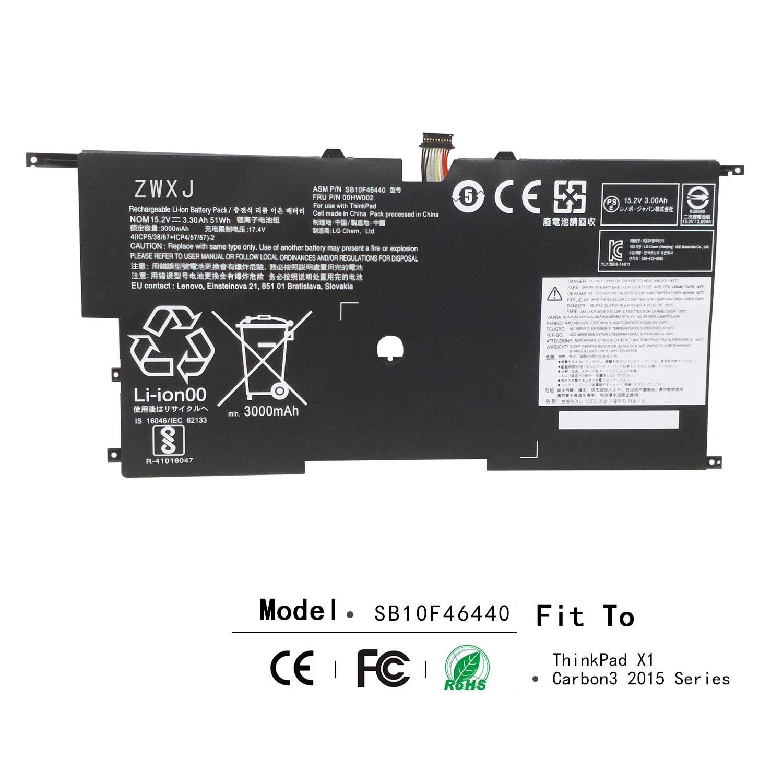 ZWXJ Replacement Laptop Battery SB10F46440 (15.2V 51WH) for Lenovo ThinkPad X1 Carbon3 2015 SB10F46441 00HW002 00HW003 SB10F46440