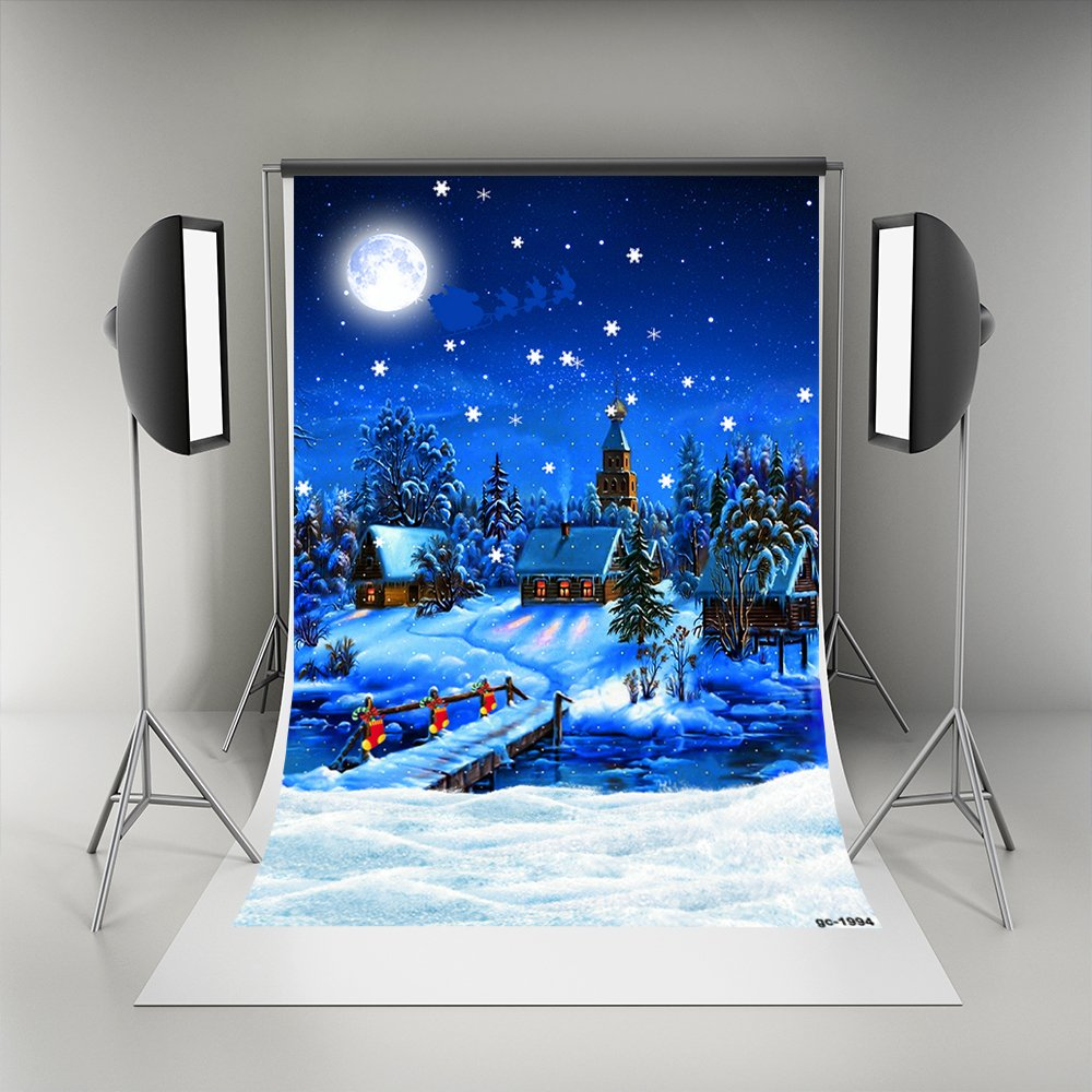 5x7フィート ブルー クリスマス 背景 写真 雪 レンガ 家 背景 明るい月 写真 背景 子供用   B07586491Y