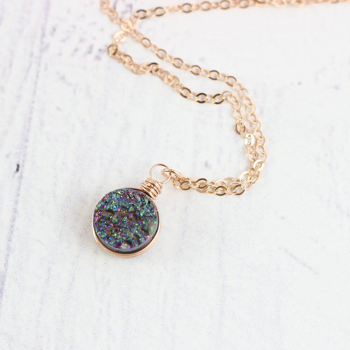 Rainbow Druzy Rose Gold Filled Circle Necklace - 18 Length