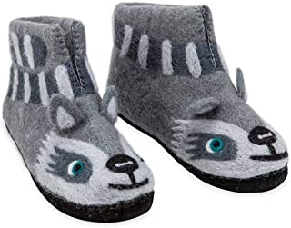 product image for Magic Cabin Handcrafted Fair Trade Felted Wool Animal Slippers for Kids - Suede Soles - Small (10-12) - Racoon