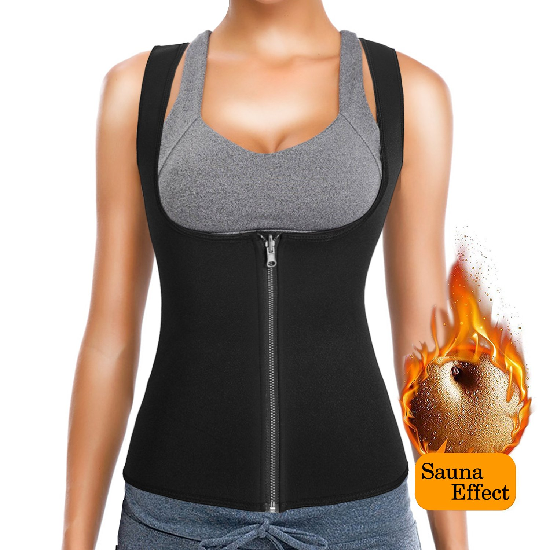 Black XLarge(Fit 33.07\ SATRUEX Women's Waist Trainer Vest for Weight Loss, Hot Sweat Neoprene Corset Slimming Body Shaper Zipper Sauna Tank Top Workout Shapewear