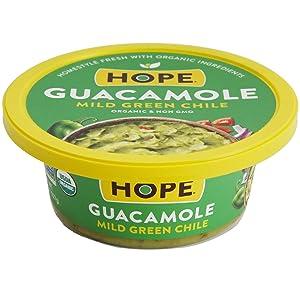 Hope Organic Green Chile Guacamole, Mild, 8 oz