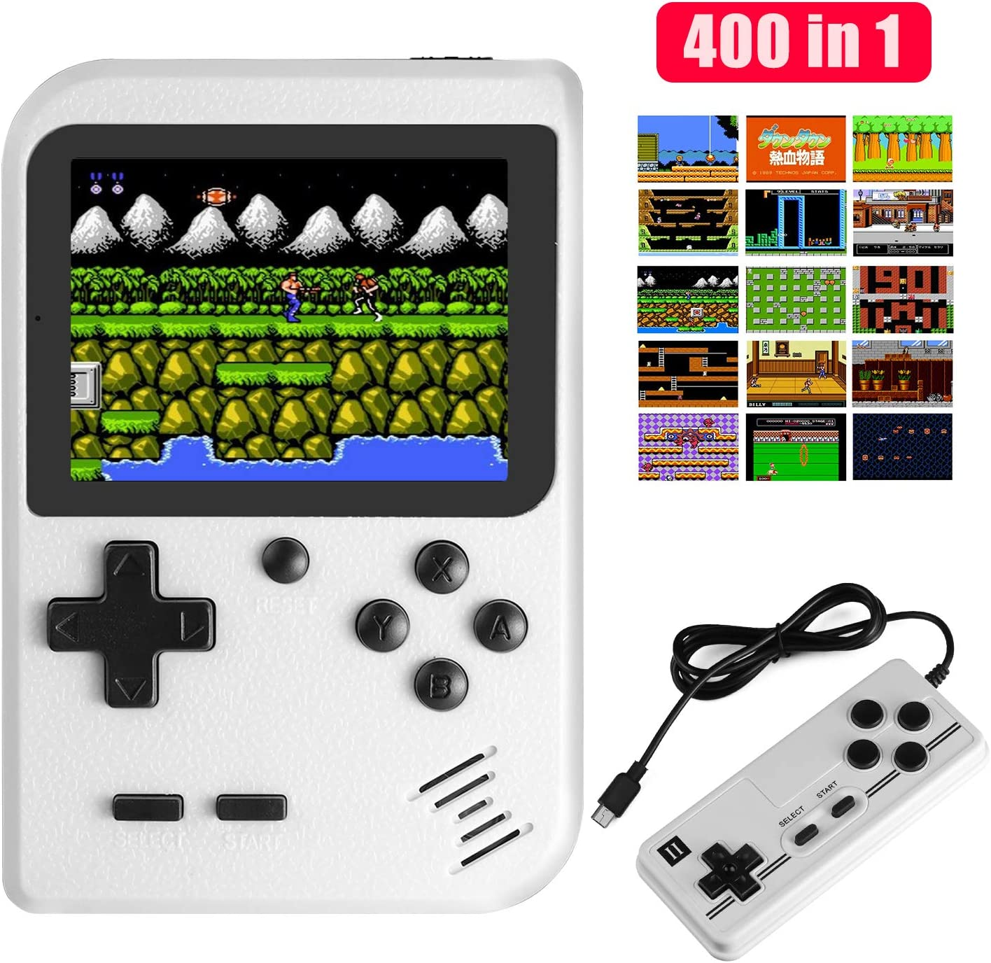 JAMSWALL Handheld Game Console, 400 Classical FC Games 2.8-Inch Screen 800mAh Rechargeable Battery Portable Retro Video Game Console Support for Connecting TV and Two Players(White): Toys & Games