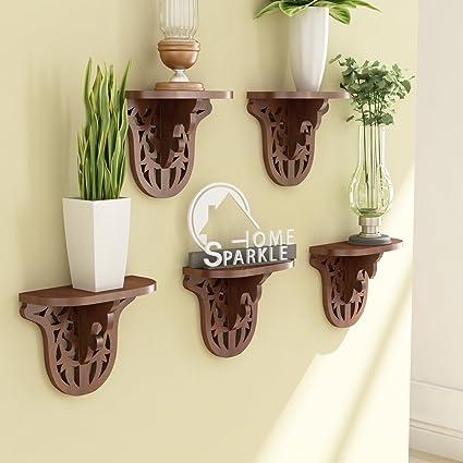 Home Sparkle Engineered Wood Carved Shelf Set (25 cm x 11.5 cm x 20 cm, Brown, Set of 5)