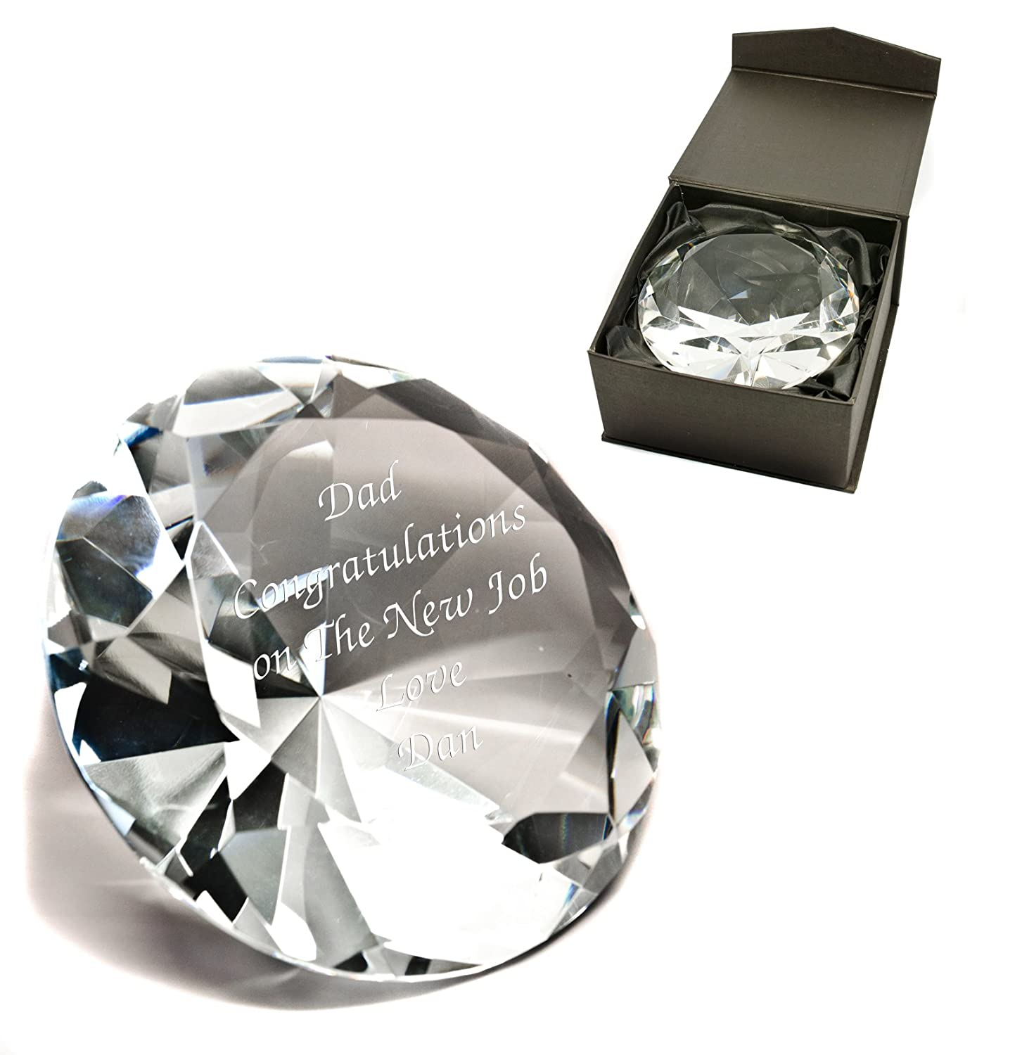 10cm Crystal Diamond Paperweight Engraved Personalised Engagement Gift